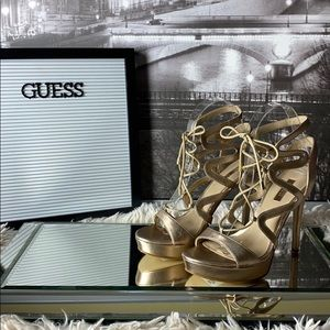 Guess Leather Metallic Taupe Strappy Heels Size 6